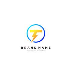 Letter t flash electrical logo design vector