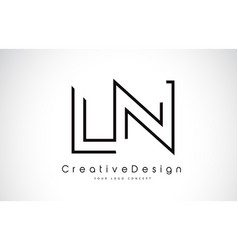 Ln l n letter logo design in black colors vector