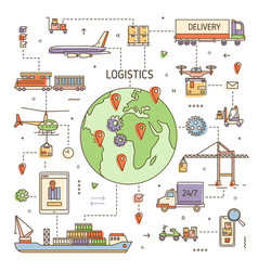 logistics concept with freight vehicles transport vector image