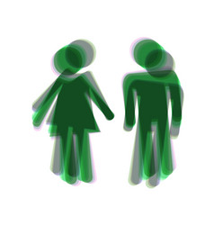 male and female sign colorful icon shaked vector image