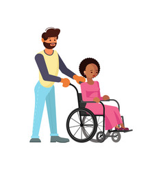 man help to young disabled african woman vector image