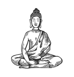 Meditating buddha engraving vector