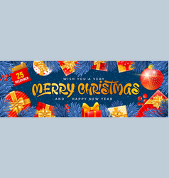 merry christmas greeting banner vector image