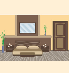 Modern bedroom interior with houseplants furniture vector