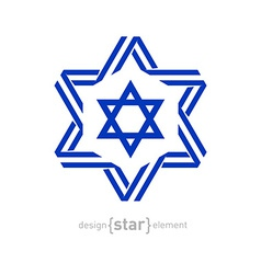 monochrome star with Israel flag colors and vector image