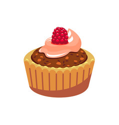 Muffin with raspberry and chocolate cream isolated vector