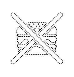 no burger sign black dashed icon on white vector image
