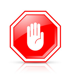 octagonal and glossy stop hand sign placed on vector image