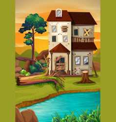Old house by the pond vector