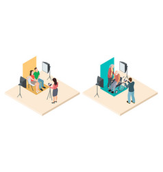 Photo shoot isometric young and elderly couples vector