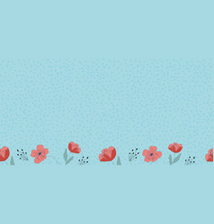 poppy flower border with dots seamless repeat vector image