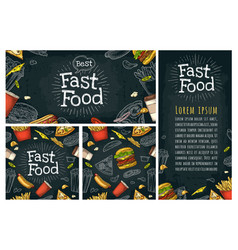 Posters and seamless pattern fast food and vector