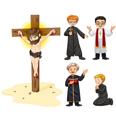 Priests and jesus figure vector