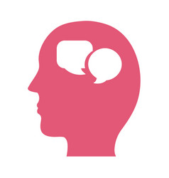 Profile with speech bubbles mental health vector