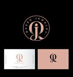 q and j letter monogram queen jewelry vector image