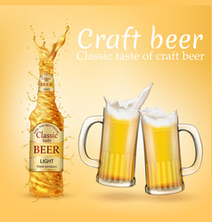realistic craft beer poster advertising vector image