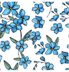 seamless pattern with floral ornament endless vector image