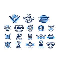 Set american baseball logo original blue vector