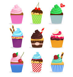 set cupcakes and muffins vector image