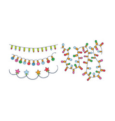 set different christmas garlands colorful vector image