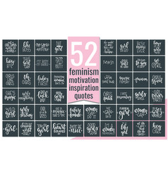 Set with hand drawn feminism typography poster or vector