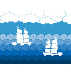 ships on the waves sailing medieval ship vector image