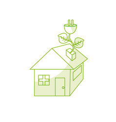 Silhouette house with power cable with leaves to vector