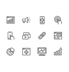 simple set symbols seo network marketing and vector image