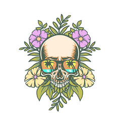 skull and exotic tropical flowers vector image