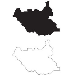 South sudan country map black silhouette vector