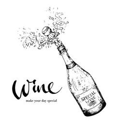 Splashing bottle wine vector