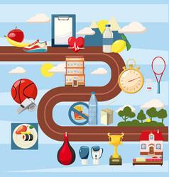 sport steps way concept cartoon style vector image