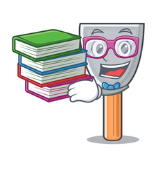 Student with book vintage putty knife on mascot vector
