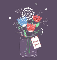 stylized flowers in jar thank you card vector image