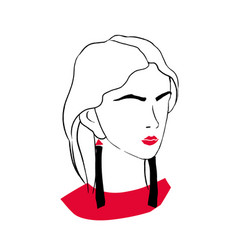 stylized outline portrait elegant fashionable vector image