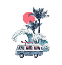 summer time background with retro bus palms and vector image