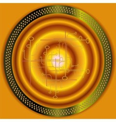Technical Abstract golden circle background vector image