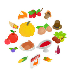 thanksgiving day isometric 3d icons vector image