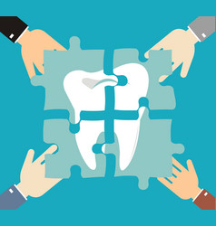 tooth of the puzzle dental caries treatment teeth vector image
