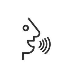 voice command with sound waves icon in flat style vector image