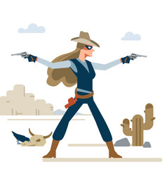 western cowgirl with two revolvers in a shootout vector image