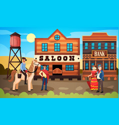 Wild west town composition vector