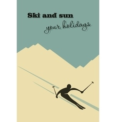 Winter background Skier slides from the mountain vector
