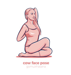 Yoga cow face pose gomukhasana asana vector
