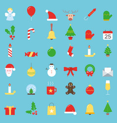 colorful christmas icons big collection vector image