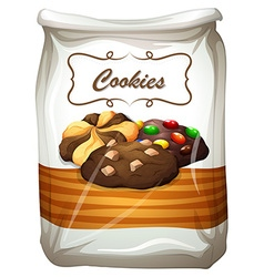 Cookies in white bag vector image vector image