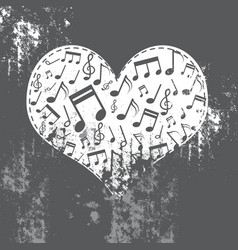 heart grunge with music inside vector image