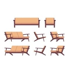 Set of retro cream sofa and armchair vector image vector image