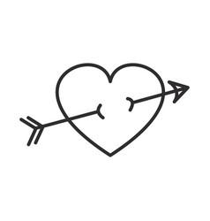 arrow in heart line icon sign vector image