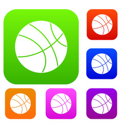 basketball ball set color collection vector image vector image